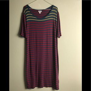 LuLaRoe Carly Striped Dress Plus Size 3XL